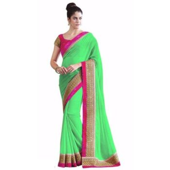 Delightful Solid With Border Georgette Saree