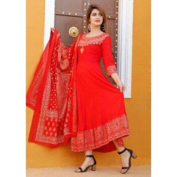 Elegant Rayon Printed Kurti Dupatta Set