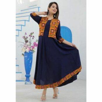 Ethnic Rayon Floor Length Kurtis With Printed, Mirror Work & Jacket