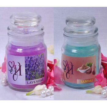 Flavour Glass Jar Candles (Pack of 2) Lavendar & Sandal