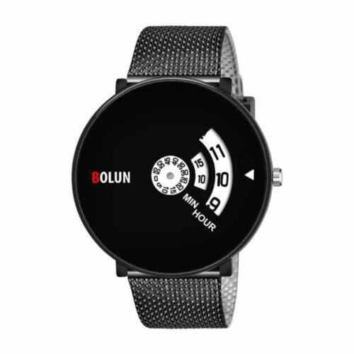 Full Screen Dial Stainless Steel Men's Watch - Black