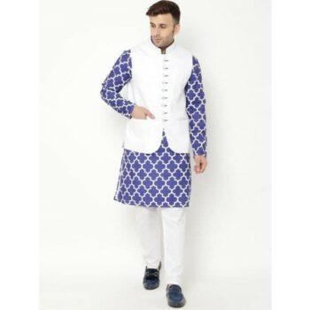Hangup Cotton Printed With Solid Full Sleeves Regular Fit Kurta and Payjama set with Nehru jacket