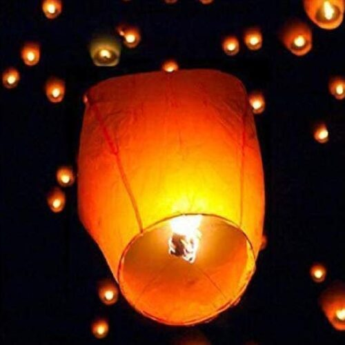 Hot Air Balloon Paper Multi colors Sky Lantern Pack of 15 1