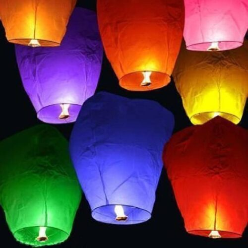 Hot Air Balloon Paper Multi colors Sky Lantern Pack of 15