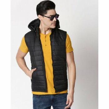 Jet Black Plain Sleeveless Puffer Jacket with Detachable Hood