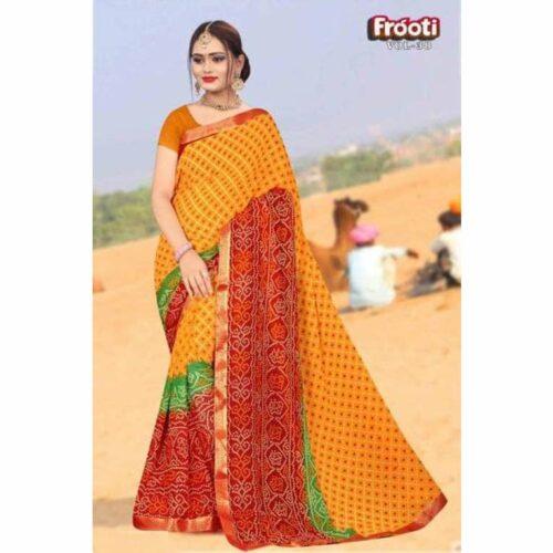 Latest Printed Bandhani Georgette Saree