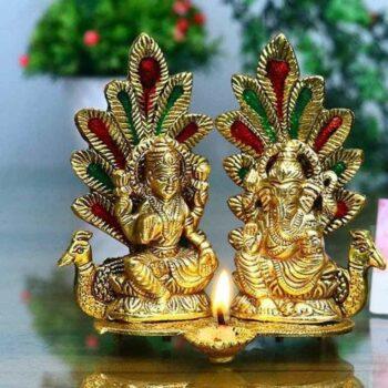 Laxmi Ganesh Idol Statue with Diya Peacock Showpiece