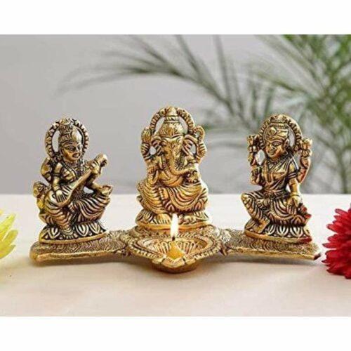 Laxmi Ganesh Saraswati Idol Oil Lamp Diya Showpiece