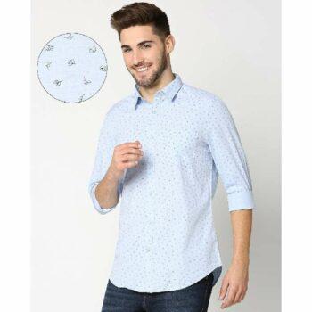 Light Blue Cotton Melange Shirt (1)