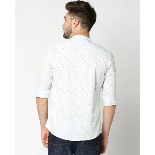 Light Blue Twill Lycra Print Shirt 1