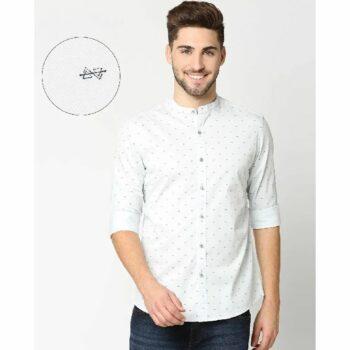 Light Blue Twill Lycra Print Shirt
