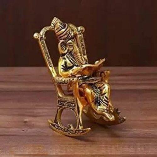 Lord Ganesha Sitting on Swinging Moving Chair Reading Ramayana Idol