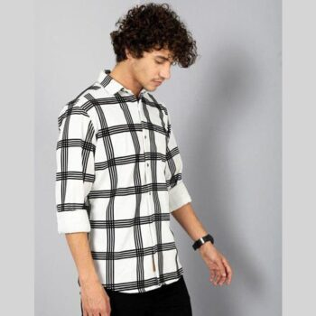 Lycra Checkered Full Sleeves Slim Fit Casual Shirt