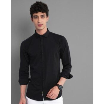 Lycra Solid Full Sleeves Slim Fit Casual Shirt