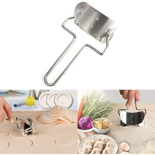 Manual Stainless Steel Puri Cutter Roller Machine with Handle for Home Baking Tools Dough Circle Roller Cutter for Kitchen Poori Cutter Roller Silver 1 pcs 3