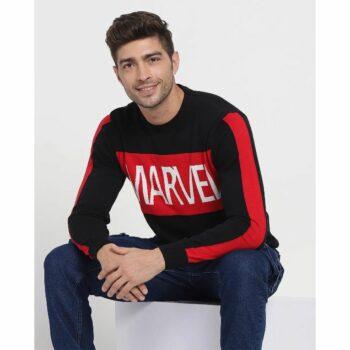 Marvel Sleeve Color Block Flat Knit Sweater
