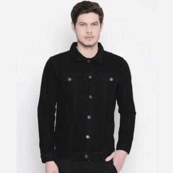 Men Black Solid Denim Jacket