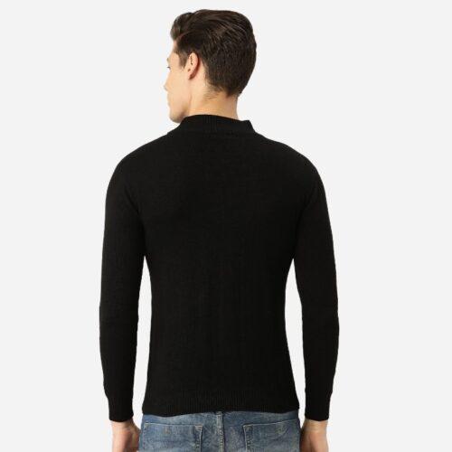 Men Black Solid Pullover Sweater