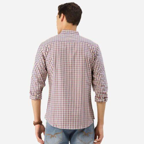 Men Cream Coloured Blue Checked Smart Shirt 1