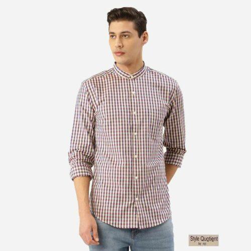 Men Cream Coloured & Blue Checked Smart Shirt
