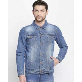 Men Blue Solid Denim Jacket