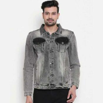 Men Grey Washed Denim Jacket