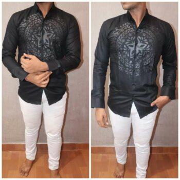 Men's Cotton Printed Partywear Regular Fit Shirt