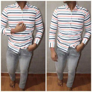 Men's Cotton Striped Regular Fit Shirt