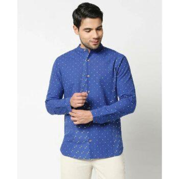 Men's Printed Mandarin Collar Shirt