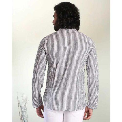Men's Seer Sucker Black & White Stripe Short Kurta