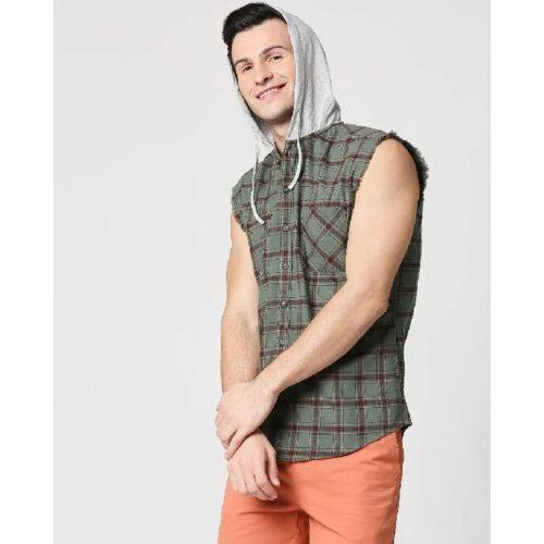 Mens Sleeveless Checks Hoodie Shirt
