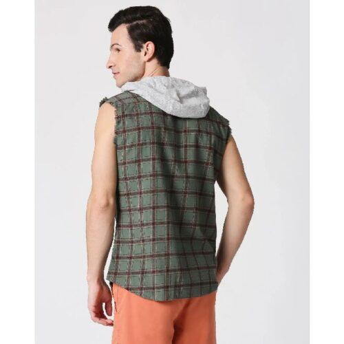 Mens Sleeveless Checks Hoodie Shirt 3