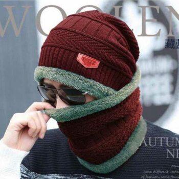 Men's & Women Woollen Cap Set with Neck Muffler