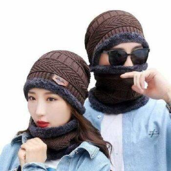 Men's & Women Woollen Cap Set with Neck Muffler (Pack of 2)