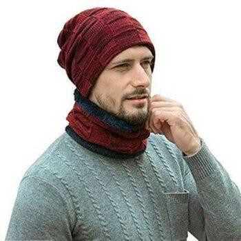 Men's & Women's Acrylic Solid Cap with Neck Muffler