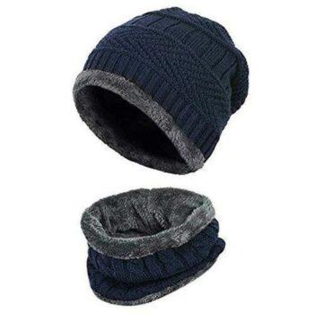 Men's and Women's Woolen Cap Set with Neck Muffler