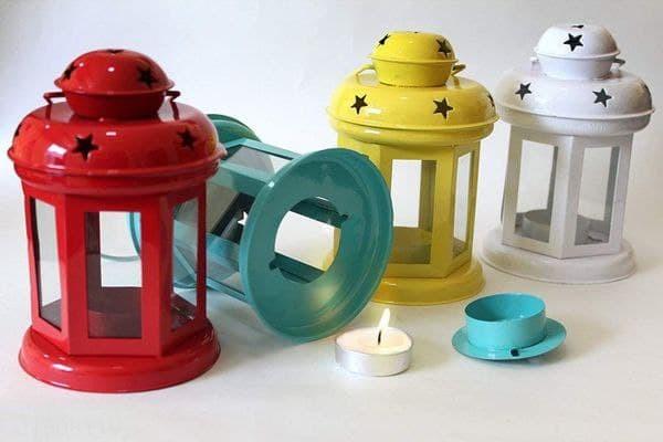 Metal Tealight Holder Lantern Set of 4 2