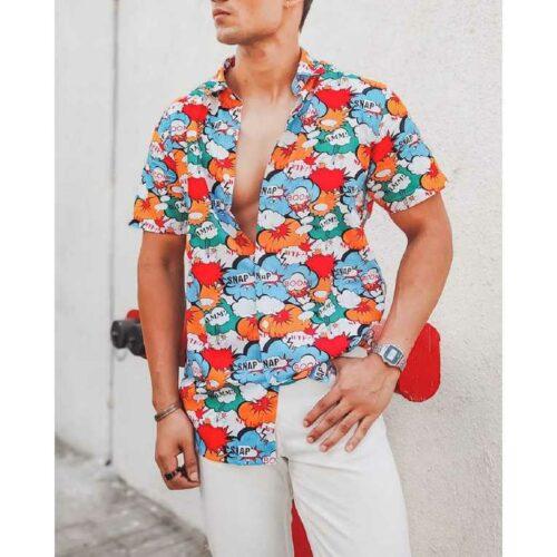 Multi Color Boom Snap Printed Half Sleeves Shirt