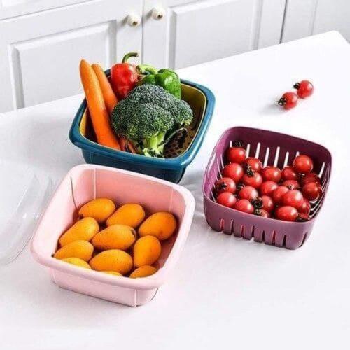 Multifunctional Washing Vegetables and Fruit Draining Basket Strainer, Fruit Basket for Dining Table,Drain Basket- Made in India (Multi Color) (Rotating Basket)