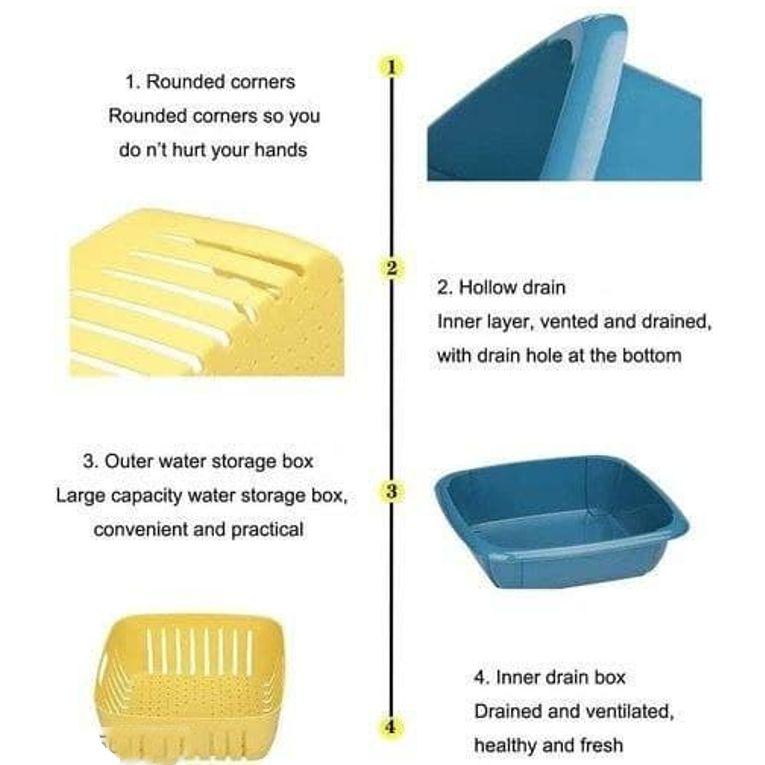 Multifunctional Washing Vegetable and Fruit Draing Basket Strainer 5