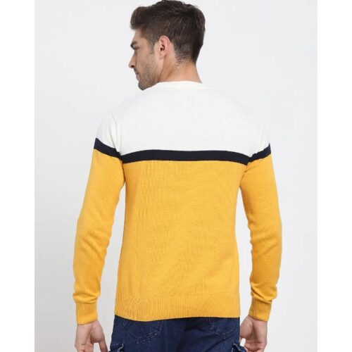 Old Gold Color Block Flat Knit Sweater 1