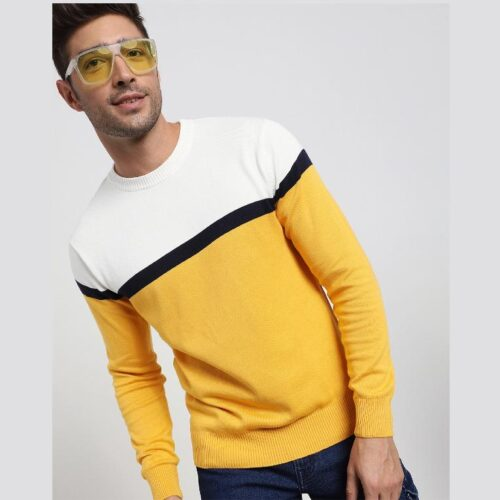 Old Gold Color Block Flat Knit Sweater