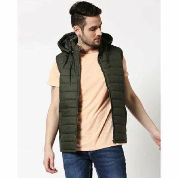 Olive Plain Sleeveless Puffer Jacket with Detachable Hood