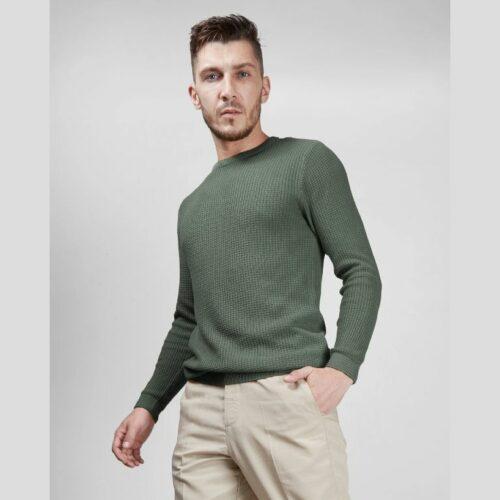 Olive Waffle Sweater