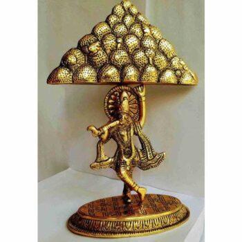 Oxidized Metal Krishna Idol with Goverdhan Parvat Showpiece