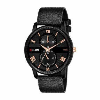Partywear Leather Watch for Men - Black