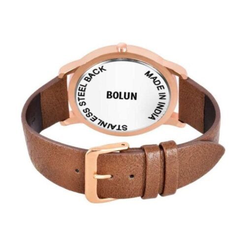 Partywear Leather Watch for Men - Golden Brown