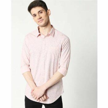 Pink Blue Cotton Melange Shirt