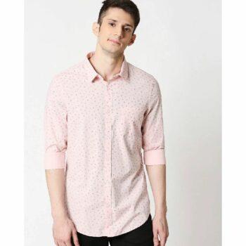 Pink Cotton Melange Shirt