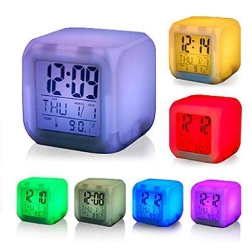 Plastic Digital Alarm Clock with Automatic 7 Colour Changing LED Date Time Temperature Digital Alarm Clock Multicolour 1
